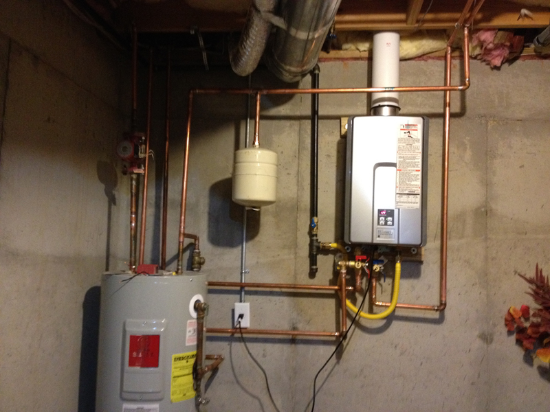 Tankless with storage tank and circulation pump Tom Kris